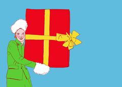 Retro Cartoon drawing - woman holding red Christmas box Stock Illustration