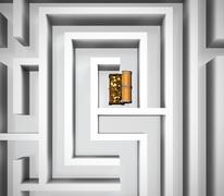 Maze with treasure Stock Illustration