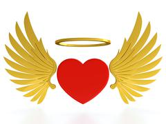 Stock Illustration of heart with wings