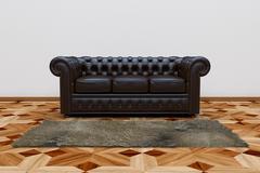 black leather sofa - stock illustration