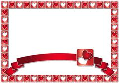 Stock Illustration of valentine frame with red hearts and ribbon
