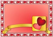 Valentine frame with hearts and golden ribbon Stock Illustration