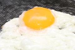 Fried egg in a frying pan Stock Photos