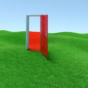 mysterious door - stock illustration