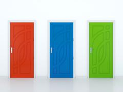 three doors - stock illustration
