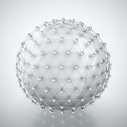 white sphere in metal cage - stock illustration