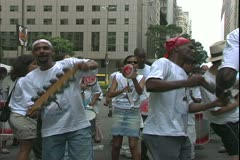 Carnival in Rio, Carnaval, daytime, tambourine samba band, medium shot Stock Footage