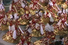 Carnival in Rio, Carnaval, nighttime, Samba Parades, close up women turning Stock Footage
