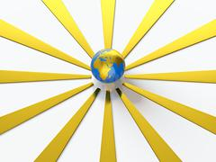Earth with golden rays Stock Illustration