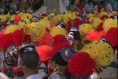 Carnival in Rio, Carnaval, Samba Parades, close up, men in clown outfits Stock Footage