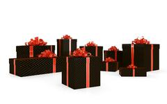 black gift boxes - stock illustration
