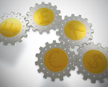 cogwheel coins - stock illustration