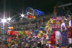 Carnival in Rio, Carnaval, Samba Parades, elaborate disco float, passes Stock Footage