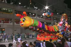 Carnival in Rio, Carnaval, Samba Parades, elaborate  bumblebee, snake, float Stock Footage