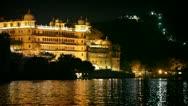 City palace in udaipur at night. india. Stock Footage