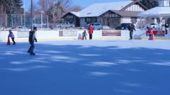 Town ice skating rink Stock Footage