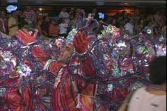 Carnival in Rio, Carnaval, Samba Parades, men samba in blue and silver Stock Footage