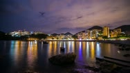 Time Lapse of Cloudy Night at Stanley Bay with flashes Stock Footage