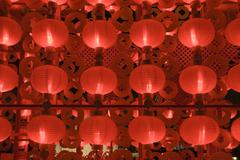 red lanterns at night for chinese new year - stock photo