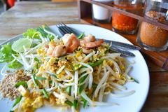 pad thai rice noodle food of thailand - stock photo