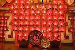 Red lanterns at night for chinese new year Stock Photos