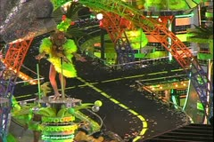 Carnival in Rio, Carnaval, Samba Parades, elaborate moped track float, close Stock Footage