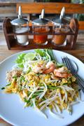 Stock Photo of pad thai rice noodle food of thailand