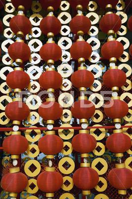 Stock photo of red lanterns decorating the chinese new year