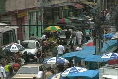 Rio de Janerio, Brazil, the favelas of Rio, huge slums, people in the streets Stock Footage