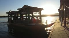 China - Boat Kunming Lake - Sunset - Summer Palace Stock Footage
