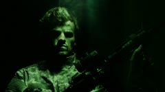Night vision soldier Stock Footage