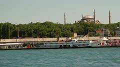Ferry from Kadikoy to Eminonu - stock footage