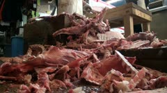 Leftover tuna meat at fish market in Tokyo, Japan Stock Footage
