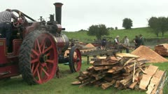 steam powered wood saw 18 - stock footage