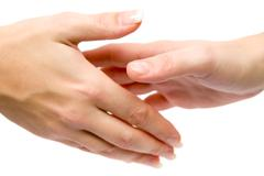 Women Shaking Hands Isolated on a White Background Stock Photos