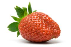 Single Strawberry Isolated on a White Background Stock Photos