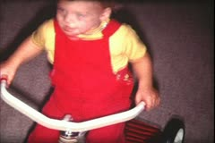 1960's archive-toddler and tricycle - stock footage