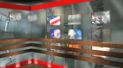 Virtual broadcasting set, TV, internet, online, streaming. Stock Footage