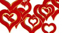 Flying Hearts, häät tausta, Ystävänpäivä, punainen rakkaus sydämet, alfa matta Arkistovideo