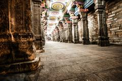 details of meenakshi temple - one of the biggest and oldest temple in madurai - stock photo