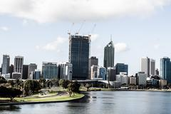 perth skyline from kings park - stock photo