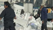 Stock Video Footage of People collect foam boxes at Tsukiji fish market in Tokyo