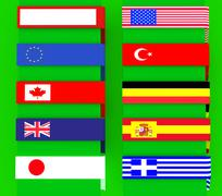 Equipped with a multi-use flag signs, borders Stock Illustration