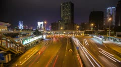 Time Lapse of busy traffic entering tunnel in Hong Kong Stock Footage