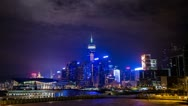 Time Lapse of cloudy night in Wan Chai Stock Footage