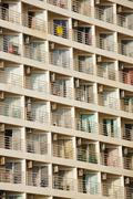 many balconies of a building - stock photo