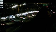 Timelapse Nighttraffic at the High Five in Dallas Stock Footage
