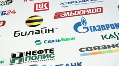 Russian trademarks logotypes on white. panning loop animation Stock Footage