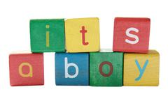 boy announcement blocks - stock photo