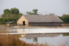 Salt evaporation ponds Stock Photos